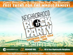 Neighborhood Block Party Hosted by Restoration House @ Restoration House Family Worship Center | Hopkinsville | Kentucky | United States
