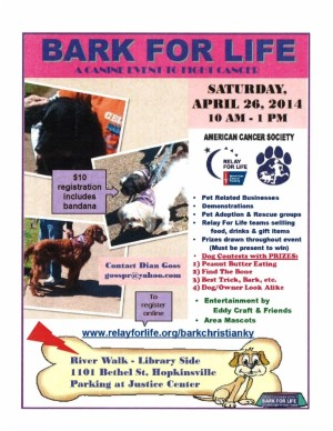 Bark for Life - Canine Event to Fight Cancer @ River Walk - Library Side | Hopkinsville | Kentucky | United States