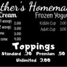 Heather's Homemade Ice Cream Menu