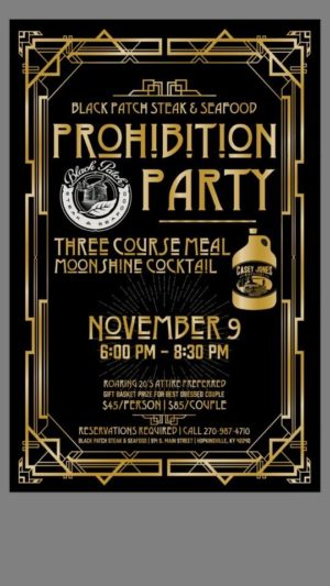 Prohibition Party @ Black Patch Steak & Seafood | Hopkinsville | Kentucky | United States