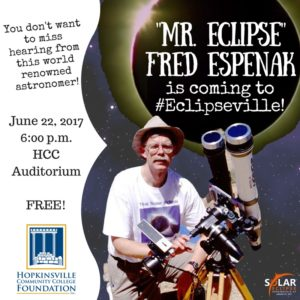 """Mr. Eclipse,"" Fred Espenak is coming to #Eclipseville @ Hopkinsville Community College 