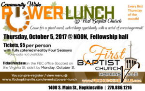 First Baptist Church Community Wide Power Lunch @ First Baptist Church | Hopkinsville | Kentucky | United States